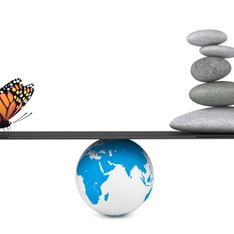 Stone pile in a Zen Garden with butterfly balanced on a Earth